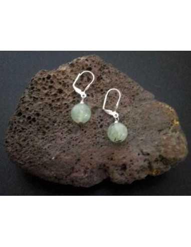 Boucles d'oreilles préhnite pierre boules 10 mm