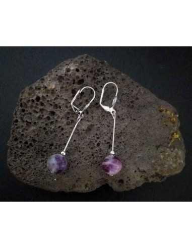 Boucles d'oreilles fluorite pendantes pierres boules