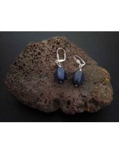 Boucles d'oreilles lapis-lazuli pierre tambour