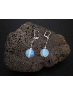 Boucles d'oreille pierre opale pendantes boules