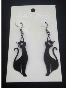 Boucles d'oreilles pendantes motif chat