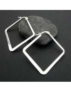 Créoles acier forme géométrique