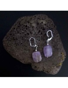 Boucles d'oreilles améthyste pierres rectangles