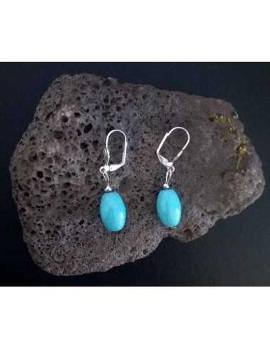Boucles d'oreilles fantaisie turquoise reconstituée 1.5 cm