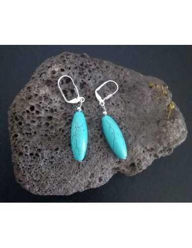 Boucles d'oreilles turquoises reconstituées perles tambour longues