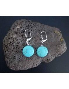 Boucles d'oreilles turquoises fantaisies reconstituées rondes 2 cm