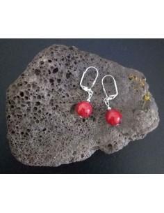 Boucles d'oreilles pierres boules de corail d'imitation