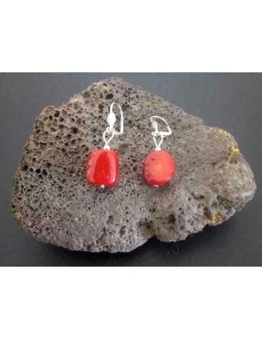 Boucles d'oreilles corail rouge reconstitué 1.5 cm