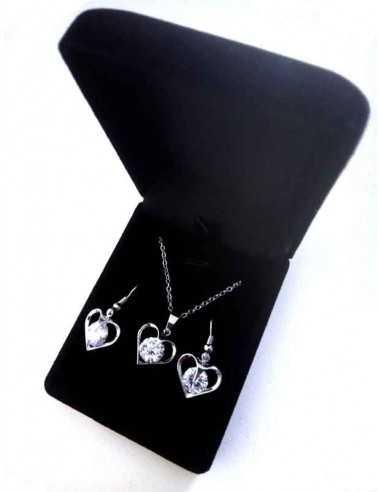 Parure en coffret collier pendentif coeur avec strass au centre + BO