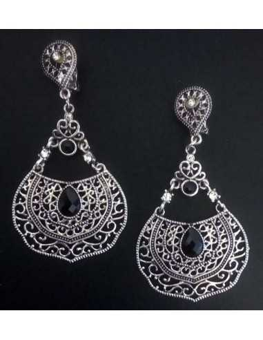 Boucles d'oreilles clips Hindies orientales en métal vieilli