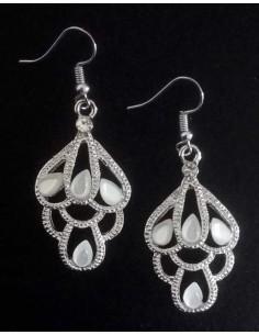 Boucles d'oreilles gouttes et perles style oriental pendantes