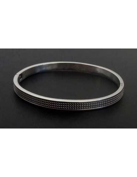 Bracelet jonc acier avec motifs martelés