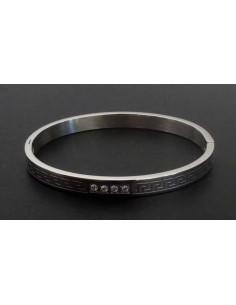 Bracelet jonc acier inoxydable 4 zirconiums & motifs graphiques