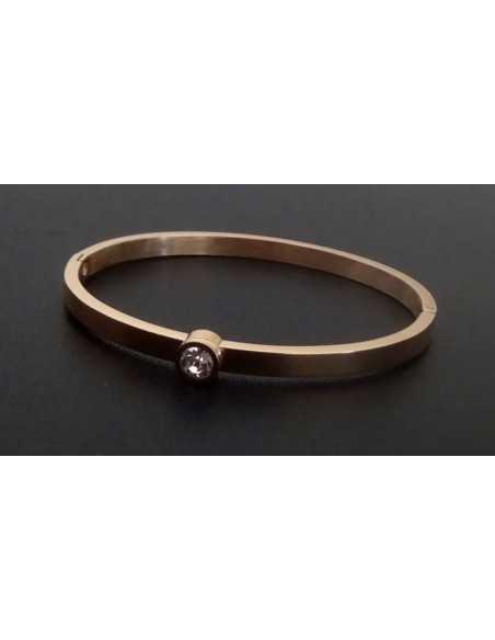 Bracelet jonc acier inoxydable avec gros zirconium