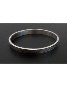 Bracelet jonc acier inoxydable motifs graphiques