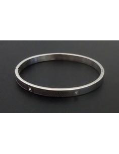 Bracelet acier inoxydable motif texturé fantaisie serti de zircons
