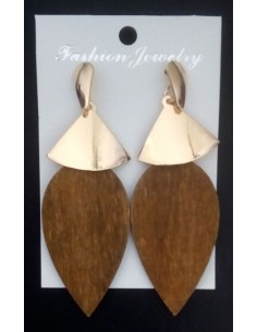 Boucles d'oreilles gouttes bois pendantes