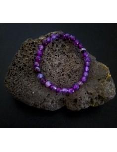 Bracelet agate violet pierres boules facettées 5 mm