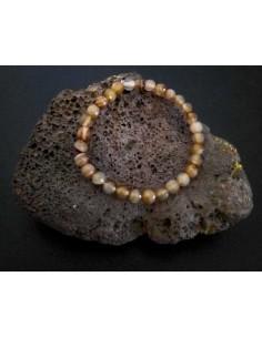 Bracelet agate marron clair pierres boules facettées 5 mm