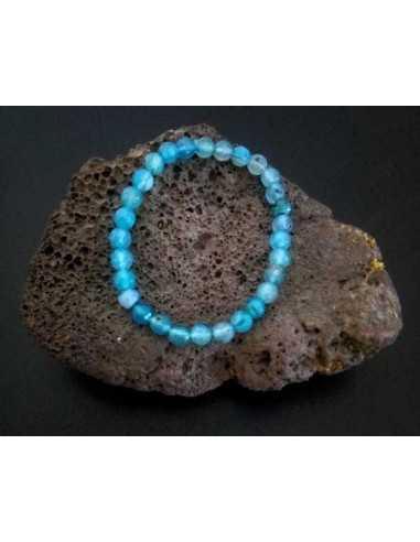 Bracelet agate bleue pierres boules facettées 5 mm