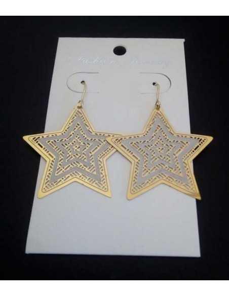Boucles d'oreilles acier fantaisie pendantes étoiles