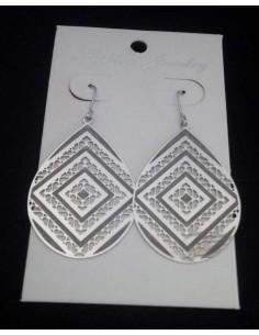 Boucles d'oreilles acier inoxydable gouttes motifs géométriques 4 cm
