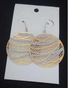 Creoles Acier rondes filigranes motifs géométriques 4 cm
