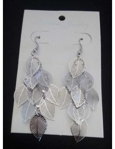 Boucles d'oreilles pampilles motifs feuilles filigranes fantaisie