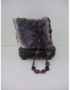 Collier œil de bœuf carré pierre naturelle 44 cm