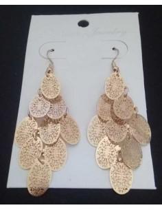 Boucles d'oreilles pampilles ovales motifs fleurs