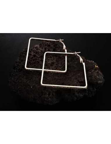Boucles d'oreilles créoles pailletées géométriques carrées 4 cm