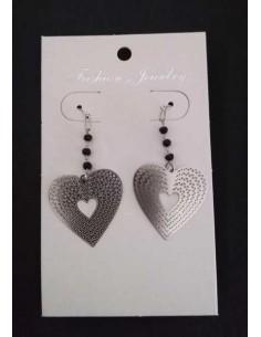 Boucles d'oreilles pendantes motifs coeurs filigrane
