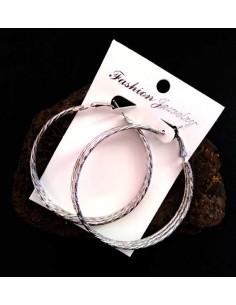 Créoles fantaisies 3 anneaux texturés superposés 6 cm