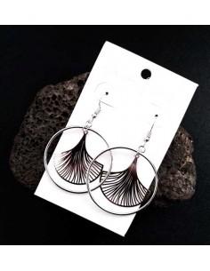 Boucles d'oreilles créoles pendentif fleur inversée 4.5 cm