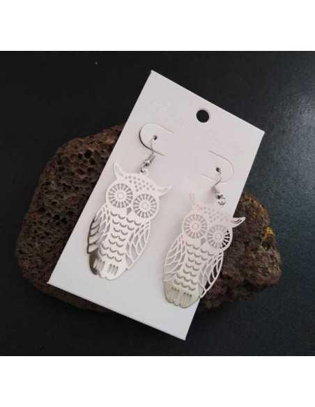 Boucles d'oreilles hiboux pendantes filigranes 5 cm