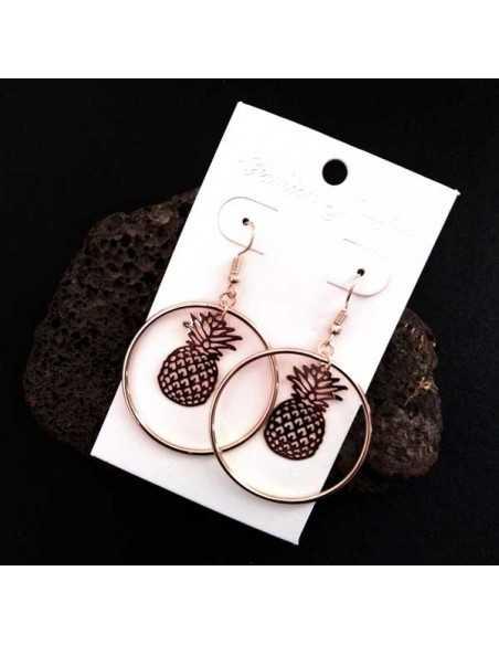 Boucles d'oreilles créoles pendentif ananas 4.5 cm