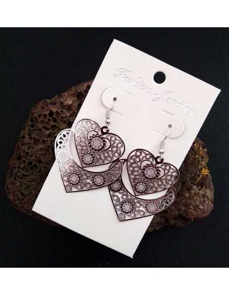 Boucles d'oreilles coeurs fantaisies avec motifs 4.5 cm