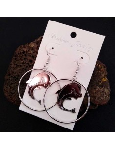 Boucles d'oreilles créoles pendentif dauphin 4.5 cm