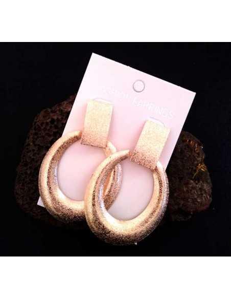 Boucles d'oreilles créoles ovales oversize effet mat pailleté 8 cm