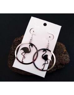 Boucles d'oreilles créoles pendentif cygne 4.5 cm