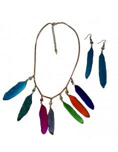 Parure collier plumes colorées fantaisie et boucles d'oreilles