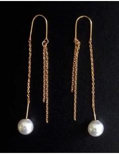 Boucles d'oreilles traversantes avec perle blanche 5.5 cm