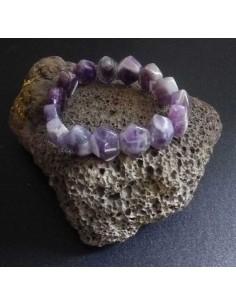 Bracelet améthyste pierre naturelle perles taillées dentelées