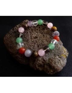 Bracelet chakras pierres naturelles boules 10 mm