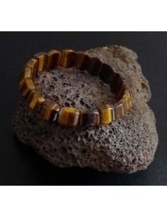 Bracelet oeil de tigre pierre carrées tendance