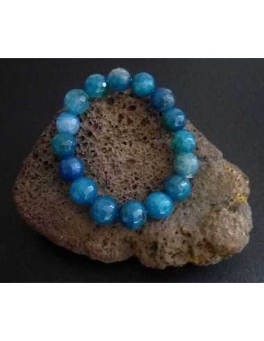 Bracelet agate bleue perles facettées 10 mm