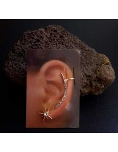 Bijou d'oreille étoile et ligne de strass