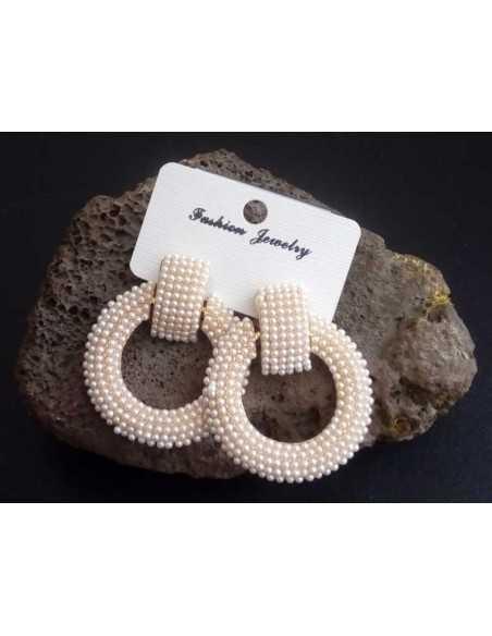 Boucles d'oreilles créoles perles larges pour soirée 6 cm