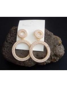 Créoles pendantes doubles anneaux perles 6 cm