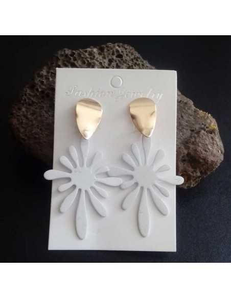 Boucles d'oreilles fantaisie fleur couleur design 5 cm